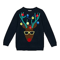 bluezoo - Boys' navy reindeer light up jumper