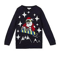 bluezoo - Boys' navy snowboarding Santa light up jumper