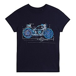 bluezoo - Boys' navy motorbike print t-shirt