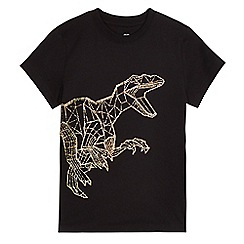 bluezoo - Girls' black dinosaur print t-shirt