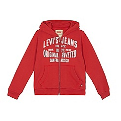 Levi's - Boys' red logo print zip through hoodie