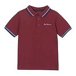 Ben Sherman - Boys' dark red tipped polo shirt