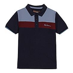 Ben Sherman - Boys' navy striped yoke polo shirt