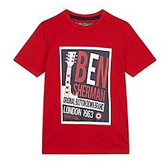 Ben Sherman - Boys' red retro print t-shirt