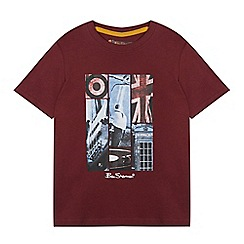 Ben Sherman - Boys' dark red London print t-shirt