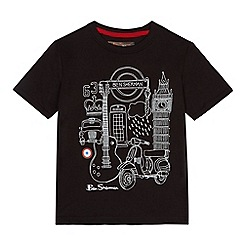 Ben Sherman - Boys' black London print t-shirt