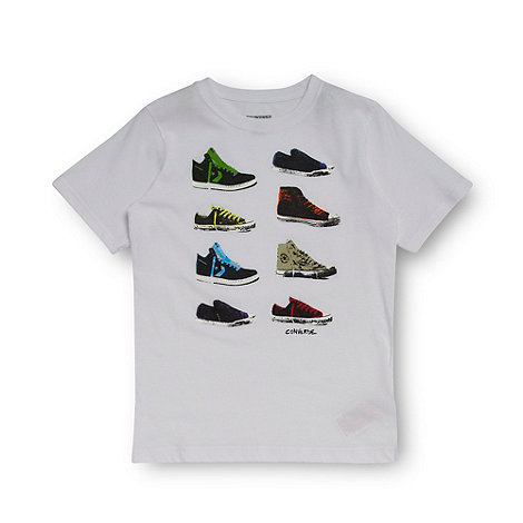Converse - Boy+s white multi shoe print t-shirt