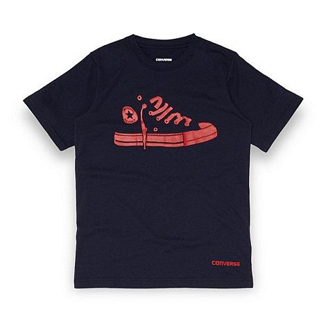 Converse - Boy+s navy shoe outline print t-shirt