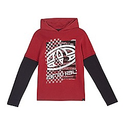 Animal - Boys' maroon printed hooded mock top