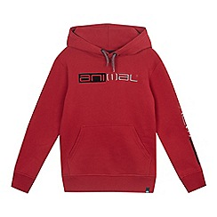 Animal - Boys' maroon stitched logo hoodie