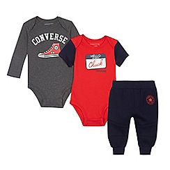 Converse - Baby boys' assorted bodysuit and jogging bottoms three piece set