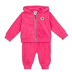 Converse - Baby girls' pink velour hoodie and jogging bottoms set