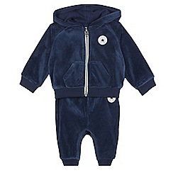 Converse - Baby boys' navy velour hoodie and jogging bottoms set