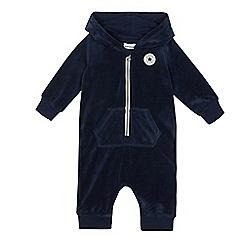 Converse - Baby boys' navy velour logo applique all in one