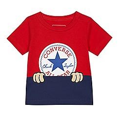 Converse - Baby boys' red peeping logo print top