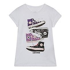 Converse - Girls' white sneaker print t-shirt