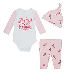 Converse - Baby girls' white and pink trainer print bodysuit, leggings and hat set