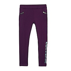 Converse - Girls' purple logo print zip leggings