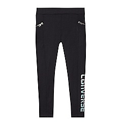 Converse - Girls' black logo print zip leggings