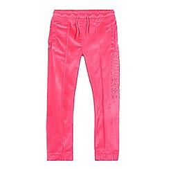 Converse - Girls' pink velour logo applique jogging bottoms