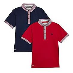 J by Jasper Conran - Pack of two boys' red and navy gingham print trim polo shirts
