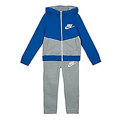 Nike - Boys' grey and blue zip through hoodie and jogging bottoms