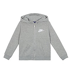 Nike - Boys' grey embroidered logo zip through hoodie