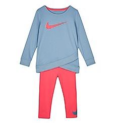 Nike - Girls' blue 'Dri-Fit' tunic and leggings set