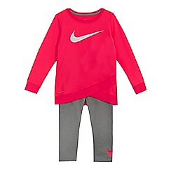 Nike - Girls' pink 'Dri-Fit' tunic and leggings set