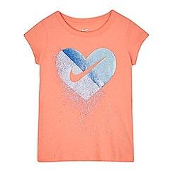 Nike - Girls' pink glitter heart t-shirt