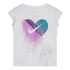 Nike - Girls' white glitter heart t-shirt