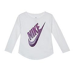 Nike - Girls' white logo print top