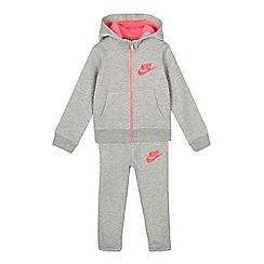 Nike - Girls' Grey zip through hoodie and jogging bottoms