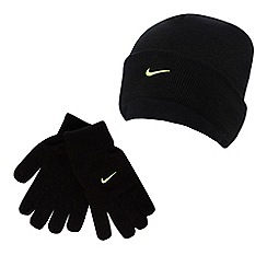 Nike - Boys' black embroidered logo beanie hat and gloves set