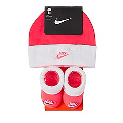 Nike - Baby girls' pink logo embroidered hat and booties set