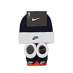 Nike - Baby boys' navy logo embroidered hat and booties set
