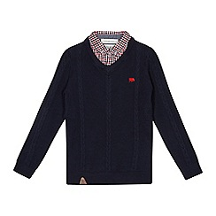 J by Jasper Conran - Boys' navy cable knit mock shirt jumper