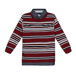 J by Jasper Conran - Boys' wine red striped mock jumper