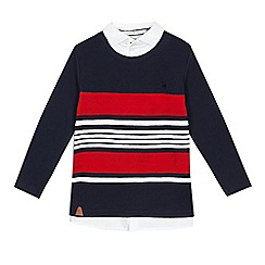 J by Jasper Conran - Boys' navy stripe mock jumper