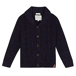 J by Jasper Conran - Boys' navy chunky cable knit cardigan