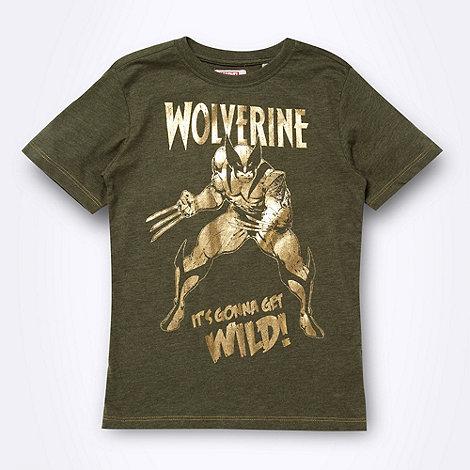 Wolverine - Boy+s khaki metallic +Wolverine+ printed t-shirt