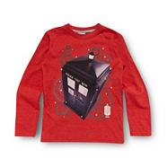 Boy's red 'Tardis' print top