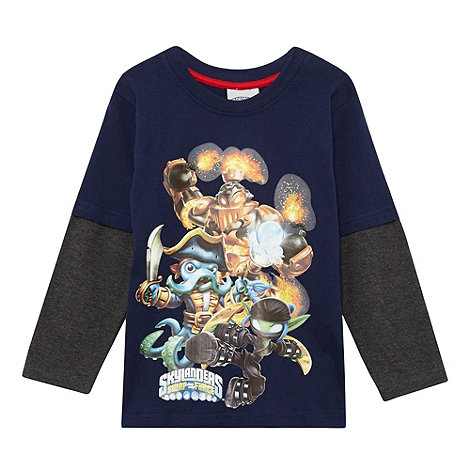 Skylanders - Boy+s navy mock sleeved +Skylanders+ top