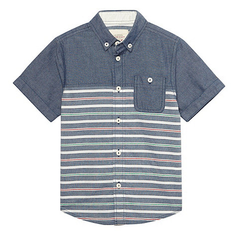 Silver Eight - Boy+s blue chambray and stripe shirt