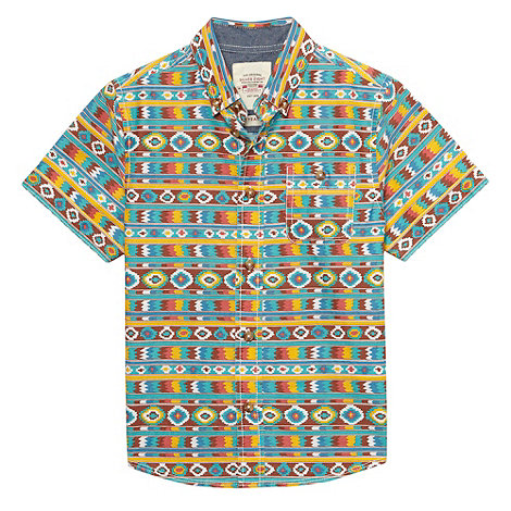 Silver Eight - Boy+s multi aztec printed shirt
