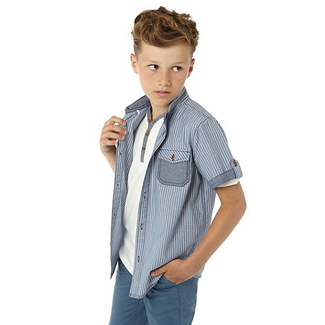 Silver Eight - Boy+s blue striped shirt and t-shirt set