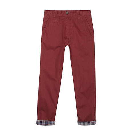Silver Eight - Boy+s dark red turn up chinos