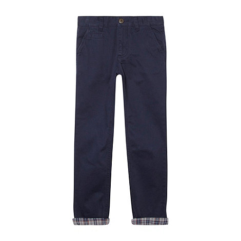 Silver Eight - Boy+s navy turn up chinos