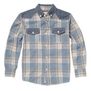 Boy's blue checked two pocket shirt