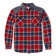 Boy's red patch shoulder checked shirt
